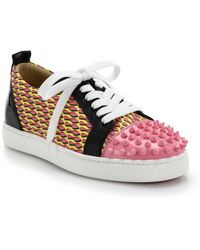 Christian Louboutin Louis Jr Studded Leather & Printed Canvas Sneakers pink - Lyst