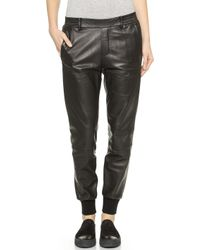 Vince Garment Wass Leather Jogger Trousers - Black - Lyst