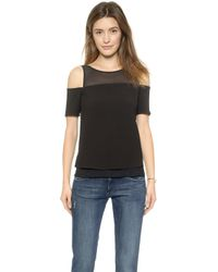 Cooper & Ella Lily Shoulder Detail Tee - Black - Lyst