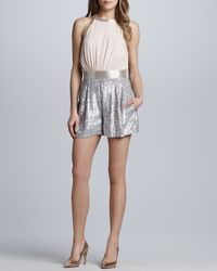 French Connection Sequined Blouson Jumpsuit - Lyst