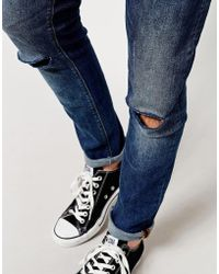 Asos Super Skinny Jean with Rips - Lyst