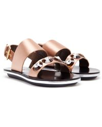 Marni Jewelled Satin Sandal - Lyst