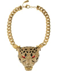 Roberto Cavalli Goldplated Swarovski Crystal Panther Necklace - Lyst