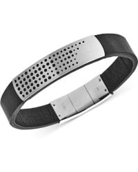 Emporio Armani Stainless Steel Black Leather Bracelet Egs2004040 - Lyst