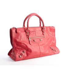 Balenciaga Pink Distressed Leather Giant Work Large Top Handle Bag - Lyst