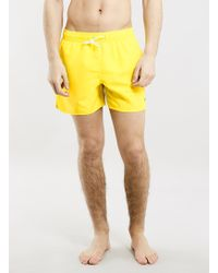 Topman Yellow Swim Shorts - Lyst