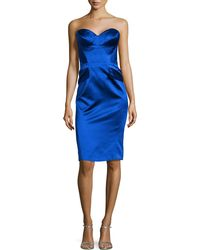 Zac Posen Strapless Split-Peplum Cocktail Dress - Lyst
