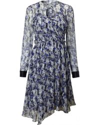 Prabal Gurung Printed Chiffon Dress blue - Lyst