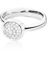 Tamara Comolli - Bouton 18k White Gold Pavé Diamond Ring - Lyst