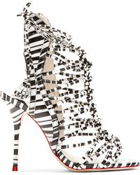 Sophia Webster Black and White Striped Lacey Gladiator Heels - Lyst