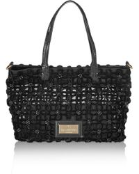 Valentino Embellished Medium Tulle and Patentleather Tote - Lyst