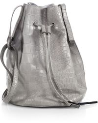 Halston Heritage Crocodile-embossed Bucket Bag - Lyst