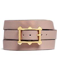 Valentino 'V' Charm Leather Wrap Bracelet beige - Lyst