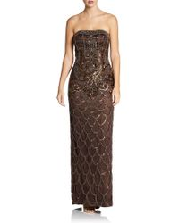 Sue Wong Embellished Strapless Column Gown - Lyst