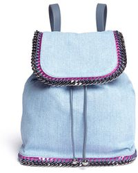 Stella McCartney Falabella Denim Chain Backpack - Lyst