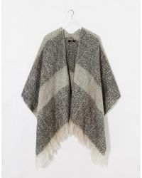 Oasis Boucle Check Wrap Cape Scarf - Lyst