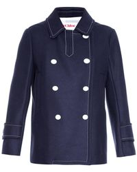 See By Chloé Double-Breasted Wool-Blend Coat - Lyst