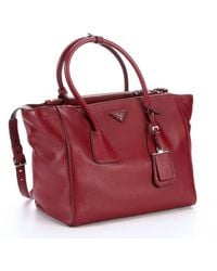 Prada Ruby Leather Convertible Tote - Lyst