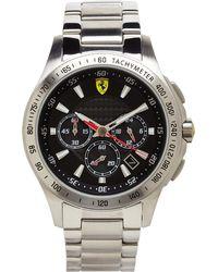 Scuderia Ferrari - 830048 Silver-Tone & Black Watch - Lyst