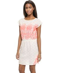 Surf Bazaar - Embroidered Dress - Sand/Flora - Lyst
