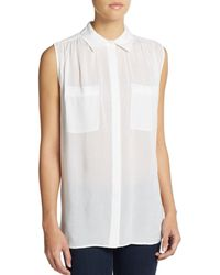 Vince Gathered Button-Front Blouse - Lyst