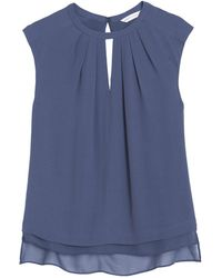 Rebecca Taylor Crepe Top with Cut Out - Lyst