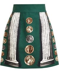 Dolce & Gabbana Coin Printed Linen Cotton Mini Skirt - Lyst