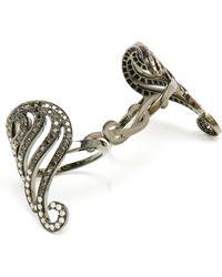 Gaydamak - 9k Oxidised Gold And Diamond Bondage Ring - Lyst