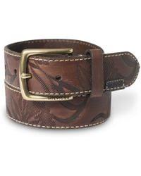 Tommy Hilfiger Ecru Stitch Embossed Leather Belt - Lyst
