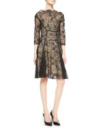 Lela Rose 34sleeve Lace Godet Dress - Lyst