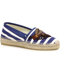 Gucci | Pilar Embroidered Stripe Espadrille Flats | Lyst