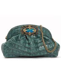 Armenta - Crocodile Gathered Clutch Bag Teal - Lyst