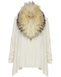 Alice + Olivia Izzy Cardigan With Fur Collar beige - Lyst