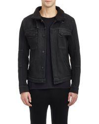 Helmut Lang Faux Sherpa-Collar Denim Jacket - Lyst