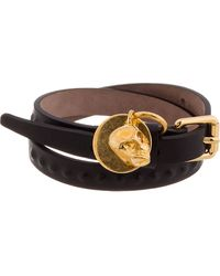 Alexander McQueen Black Leather Wrap Bracelet - Lyst