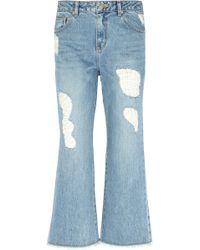 Steve J & Yoni P - Distressed Wide-leg Jeans - Lyst