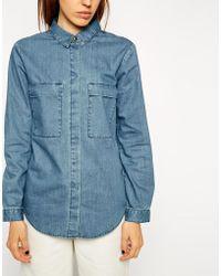 Asos Denim Boyfriend Shirt With Utility Styling - Lyst