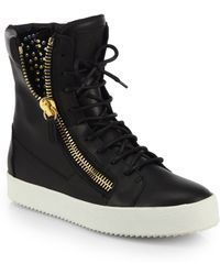 Giuseppe Zanotti Studded Leather High-Top Sneakers - Lyst
