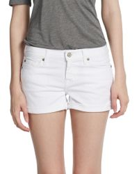 7 For All Mankind Cuffed Denim Shorts - Lyst