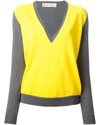 Marni Panelled Vneck Sweater - Lyst