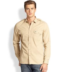Lacoste Brown Cotton Sportshirt - Lyst