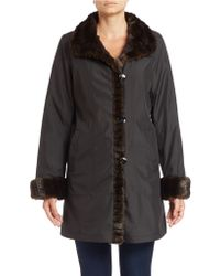 Gallery - Faux Fur-trimmed Button-front Coat - Lyst
