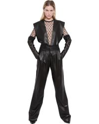 Emanuel Ungaro Nappa Leather & Tulle Top - Lyst