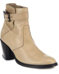 Helmut Lang Zenith Buckled Leather Ankle Boots - Lyst