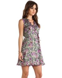 Anna Sui Sunflowers Print V Neck Dress - Lyst