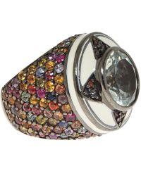 M.c.l - Silver Multicoloured Sapphire Ring - Lyst