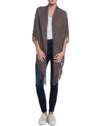 White + Warren Open Two Way Fringe Popover Sweater Wrap - Lyst