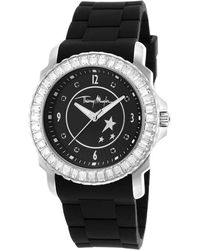 Thierry Mugler Women'S Black Rubber White Crystal Encrusted Bezel Black Dial black - Lyst