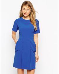Asos Mini Dress With Soft Drape Pockets - Lyst