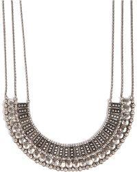 Lucky Brand - Silvertone Textured Bead Collar Necklace - Lyst